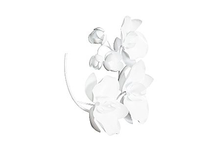 Orchid Sprig Wall Art Small, Metal, White