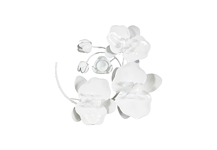 Orchid Sprig Wall Decor, White, SM