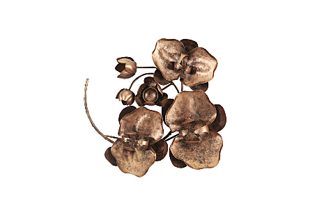 front view of the Phillips Collection Orchid Sprig Small Copper Wall Art made of metal in a copper finish