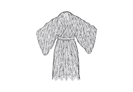 Kimono Man Sculpture Metal, Silver / Black