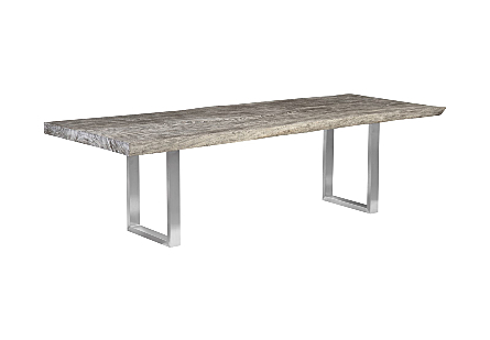 Origins Dining Table, Live Edge, Greystone, Brushed Stainless Steel Legs