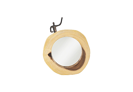 front view of Waving Figure Cross Cut Mirror by Phillips Collection an organically shaped round wood decorative mirror with a sculptural figure