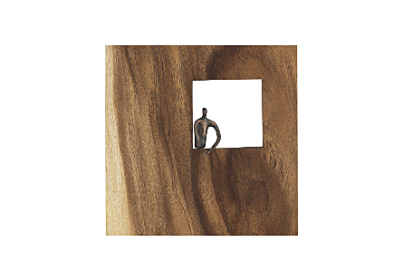 the Phillips Collection Posing Figure Square Wall Decor a piece of wall art made of wood with a sculptural metal figure in bronze