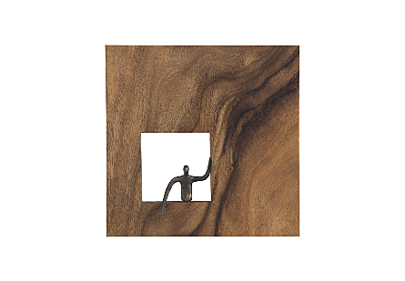 the Phillips Collection Leaning Figure Square Wall Decor a piece of wall art made of wood with a sculptural metal figure in bronze