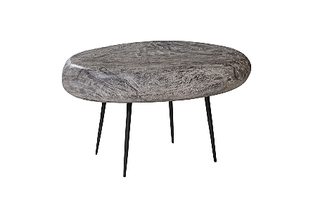 River Stone Side Table Forged Legs