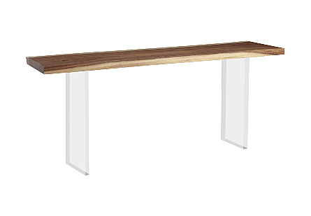 Floating Chamcha Wood Console Table, Acrylic Legs