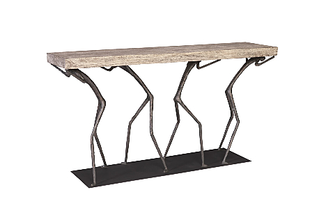Atlas Console Table Chamcha Wood, Grey Stone Finish, Metal