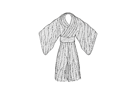 Kimono Woman Wall Art Metal, Silver/Black
