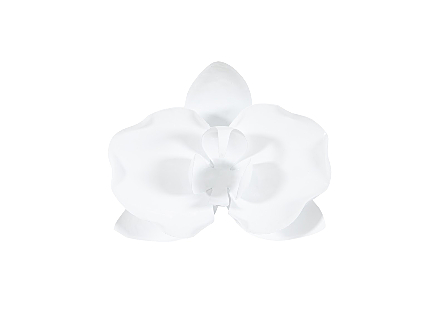 front view of the Phillips Collection Orchid Flower White Wall Decor made of metal in a crisp white finish