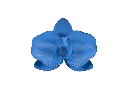 front view of the Phillips Collection Orchid Flower Blue Wall Decor made of metal in a brilliant blue finish