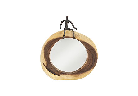 front view of Sitting Figure Cross Cut Mirror by Phillips Collection an organically shaped round wood decorative mirror with a sculptural figure