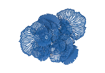 Flower Wall Art Large, Blue, Metal