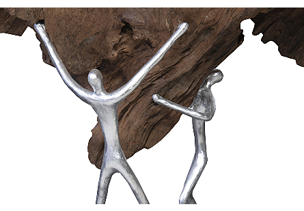 Atlas Sculpture on Stand Old Wood/Iron, Silver