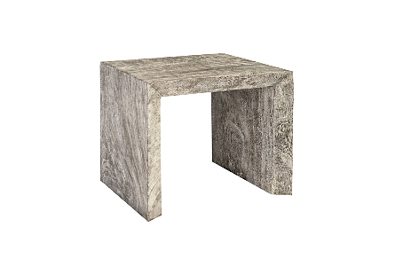 Waterfall Side Table Grey Stone