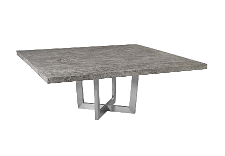 Chamcha Wood Dining Table , Greystone Square, Brushed Stainless Steel Base