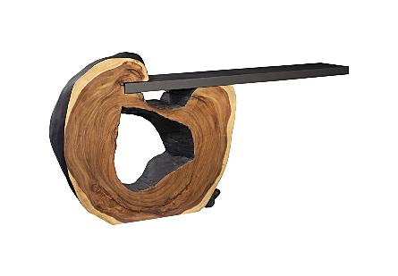 Chamcha Wood Cantilevered Console, Iron