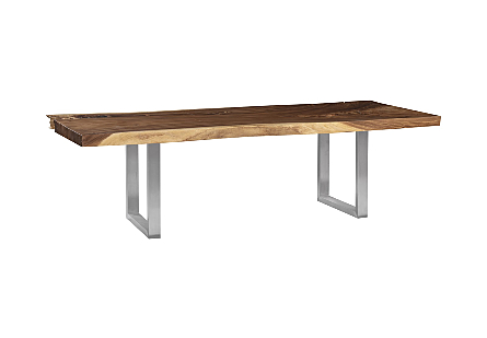 Origins Dining Table, Straight Edge, Natural, Brushed Stainless Steel Legs