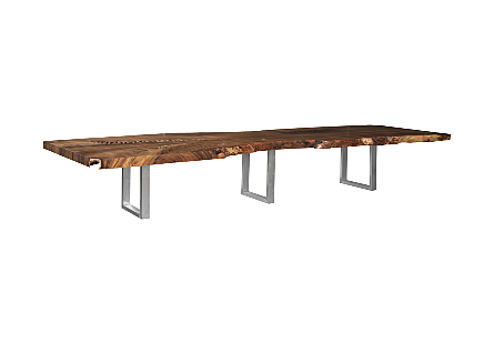 Origins Dining Table, Zig Zag Live Edge, Brushed Stainless Steel Legs, Natural
