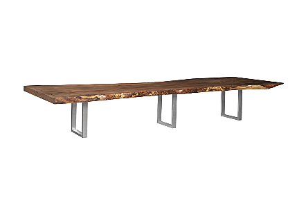Origins Dining Table Live Edge, Brushed Stainless Steel Legs, Natural