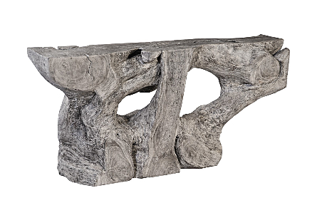Chamcha Wood Console Table Gray Stone