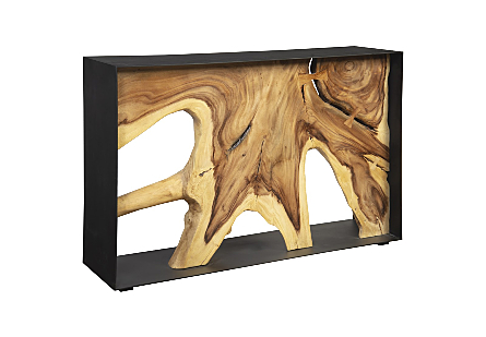 Chamcha Wood Console Table Iron Frame