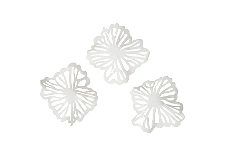 Flower Wall Art White, Metal, Set of 3