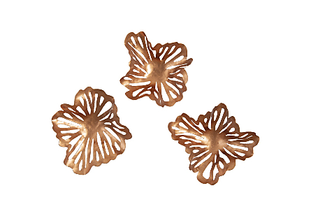 Flower Wall Art Copper, Metal, Set of 3