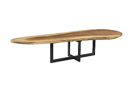 Chamcha Wood Coffee Table Black Metal Base, Oval