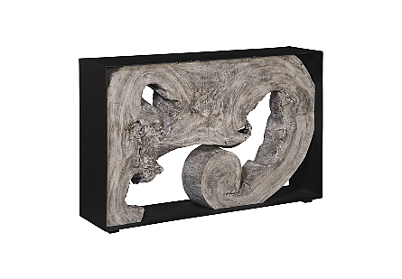 Chamcha Wood Console Table, Iron Frame, Gray Stone