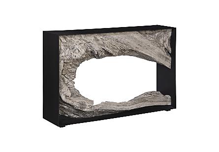 Chamcha Wood Console Table, Iron Frame, Gray Stone