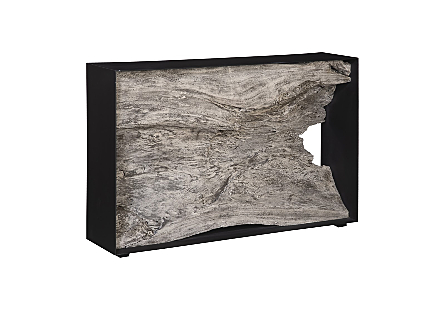 Chamcha Wood Console Table, Iron Frame, Grey Stone