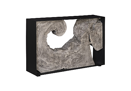 Chamcha Wood Console Table, Iron Frame, Grey Stone