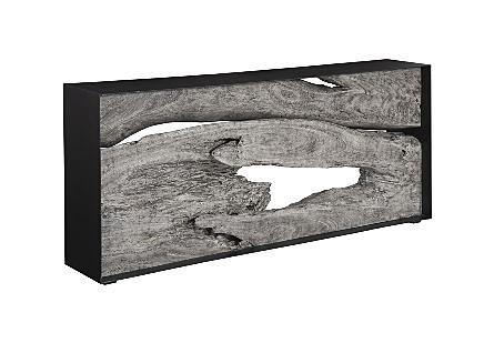 Chamcha Wood Console Table Iron Frame, Gray Stone