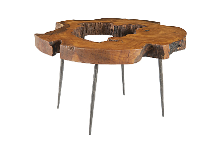 Mai Theng Burled Wood Coffee Table Forged Iron Legs
