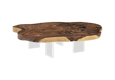 Floating Coffee Table with Acrylic Legs Chamcha Wood, Natural