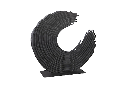Phillips Collection Swoop Large Sculpture is a black sculpture with uneven bands of wood curved and wrapped in an asymmetrical design