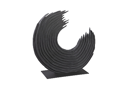 Phillips Collection Swoop Small Sculpture is a black sculpture with uneven bands of wood curved and wrapped in an asymmetrical design