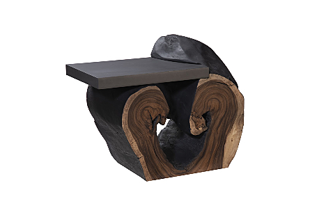 Chamcha Wood Cantilevered Side Table, Iron