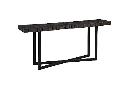 Chainsaw Console Table Burnt Black, Black Iron Cross Base