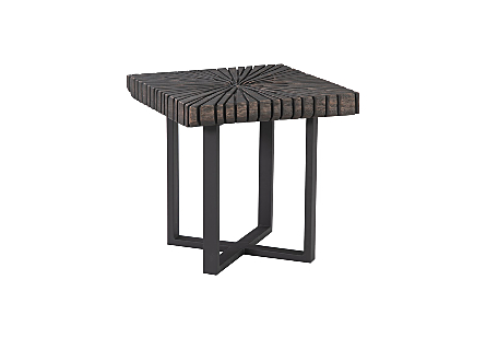 Phillips Collection Chainsaw Square Side Table is a wood occasional table with a sunray pattern carved into its wood surfaces