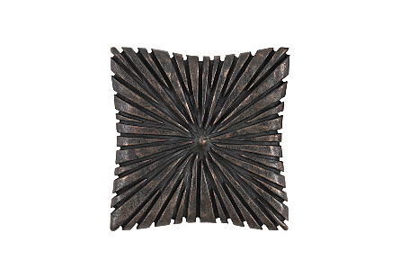 Phillips Collection Chainsaw Burnt Black Wall Tile is a wood wall tile with a sunray pattern carved into its wood surfaces