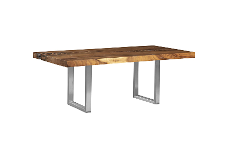 Origins Dining Table Straight Edge, Natural, Brushed Stainless Steel Legs