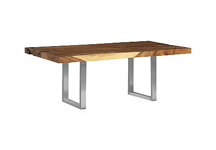 Origins Dining Table, Zig Zag Straight Edge, Natural, Brushed Stainless Steel Legs