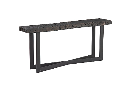 Chainsaw Console Table, Freeform Edge, Iron Cross Base, Black/Copper
