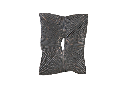 Phillips Collection Chainsaw Aperture Rectangular Wall Tile is a wood wall tile with a sunray pattern carved into its wood surfaces