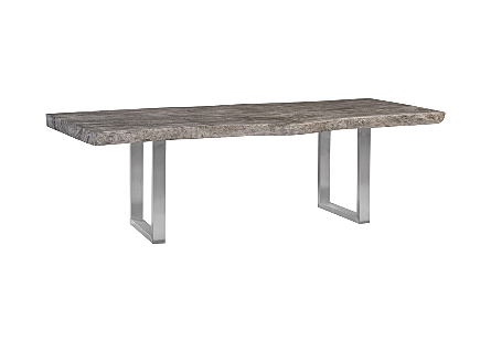 Origins Dining Table, Live Edge, Grey Stone, Brushed Stainless Steel Legs