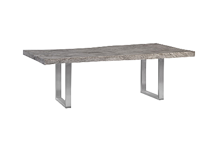 Origins Dining Table, Live Edge, Gray Stone, Brushed Stainless Steel Legs
