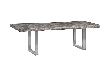 Origins Dining Table, Straight Edge, Grey Stone Brushed Stainless Steel Legs