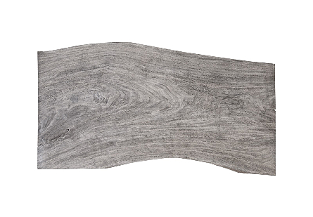 Origins Dining Table, Live Edge Gray Stone Brushed Stainless Steel Legs