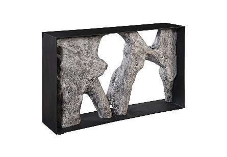 Chamcha Wood Console Table Iron Frame, Gray Stone